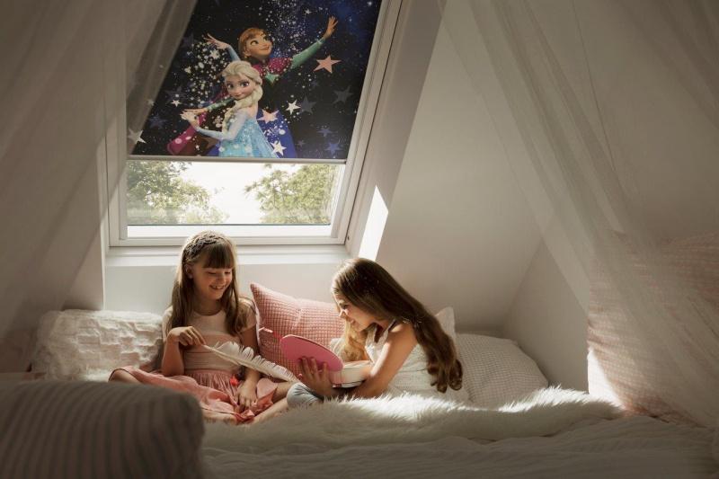 """Velux.pl, rolety wewnętrzne zaciemniające Disney & VELUX zkolekcji """"Dobranoc"""""""